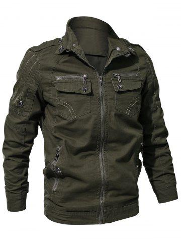 Casual Stitch Embellsihed Solid Color Jacket