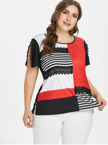 Color Block Plus Size Lace Applique T-shirt