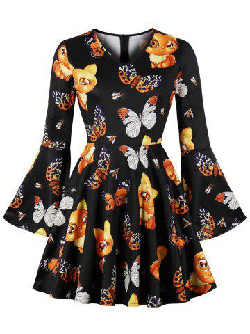 Halloween Bell Sleeve Printed Vintage Mini Dress