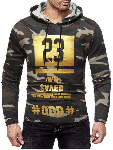 Camouflage Number Print Hooded T-shirt