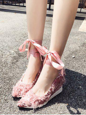 Frayed Trim Tie Leg Wedge Heel Shoes - LIGHT PINK - 38