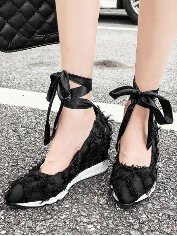 Frayed Trim Tie Leg Wedge Heel Shoes - BLACK - 39