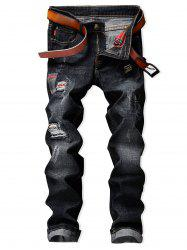 Check Panel Faded Wash Ripped Jeans -