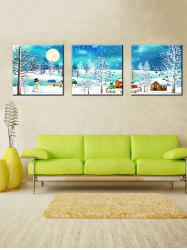 Christmas Village Print Unframed Split Canvas Paintings -
