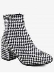 Houndstooth Suede Ankle Boots -