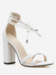 Criss Cross Strap Chunky Heel Sandals -