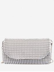 Faux Pearl Beaded PU Leather Bag -