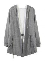 Long Solid Color Adjustbale Waist Long Cardigan Hoodie -