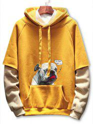 Puppy Print Patchwork Casual Hoodie -