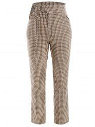 Gingham Cut Out Pants -