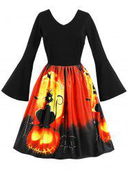 Halloween Flare Sleeve Retro Dress -