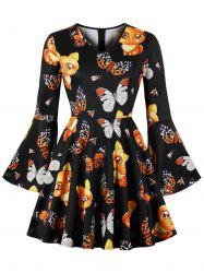 Halloween Bell Sleeve Printed Vintage Mini Dress -