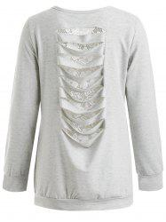 Lace Insert Ripped Sweatshirt -