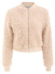Faux Fur Zipper Fly Jacket -