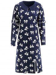 Keyhole Bowknot Print Nightgown Dress -