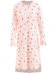 Long Sleeve Dog Print Sleeping Dress -