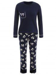 Sleep Set T-shirt with Bowknot Print Pants -