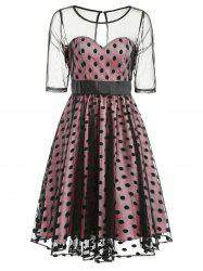 Retro Mesh Panel Dotted Pin Up Dress -