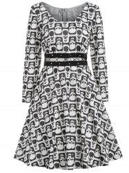 Halloween Skull Print Criss Cross Dress -