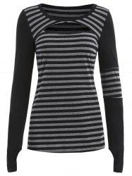 Full Sleeve Cutout Stripe T-shirt -