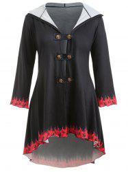 Plus Size Fire Print Double Breasted Coat -