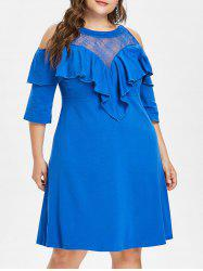Plus Size Ruffle Lace Yoke Dress -