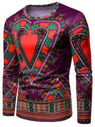Love Heart Geometrical Print Long Sleeve Tee -