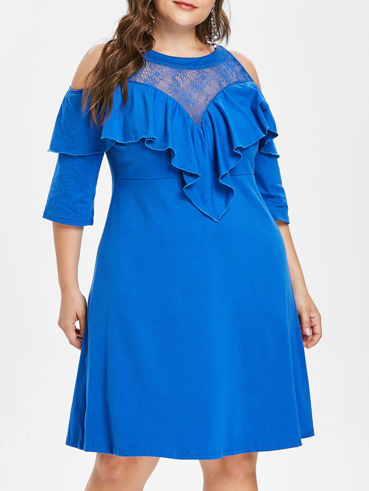Sale Plus Size Ruffle Lace Yoke Dress