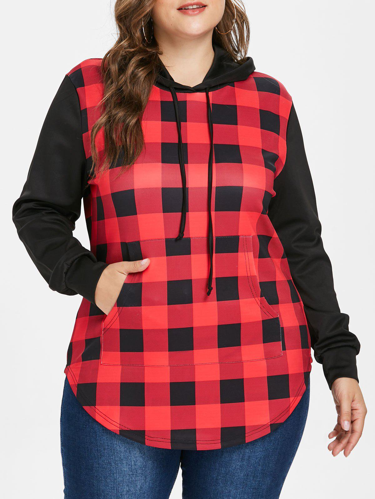 Affordable Plus Size Plaid Panel Hoodie