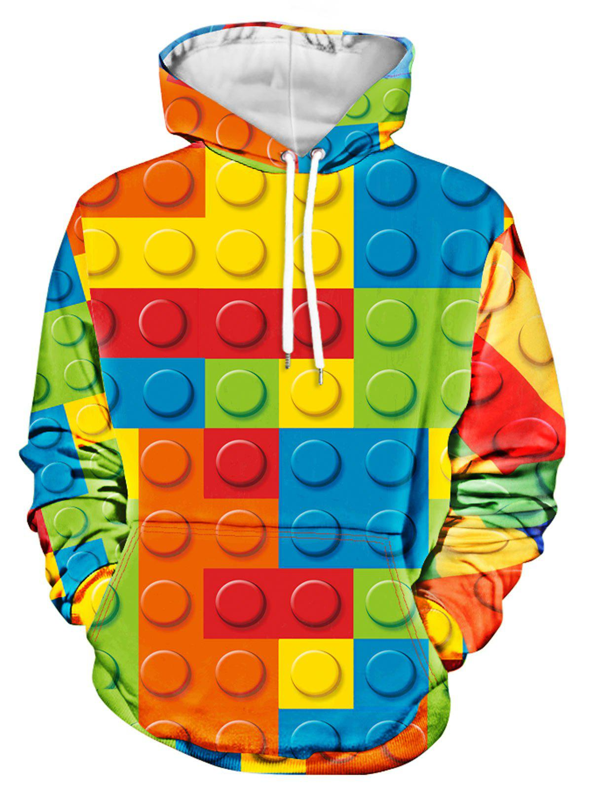 dafbab691 2019 3d Toy Bricks Print Kangaroo Pocket Hoodie