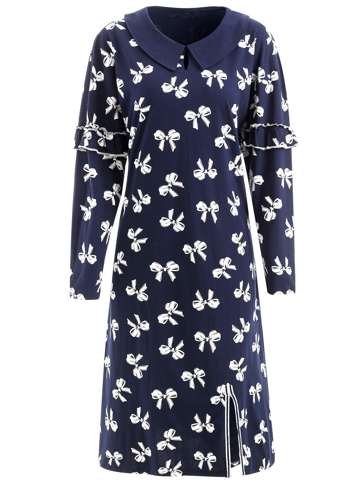 Unique Keyhole Bowknot Print Nightgown Dress