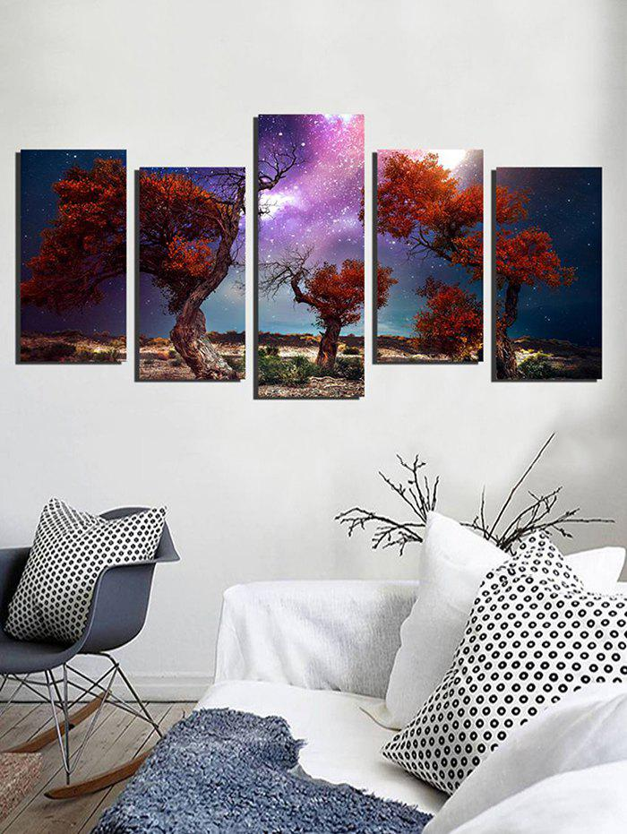 Hot Galaxy Trees Print Unframed Split Canvas Paintings