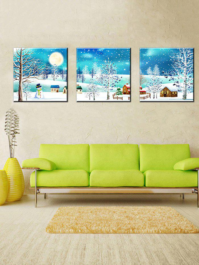 Shops Christmas Village Print Unframed Split Canvas Paintings
