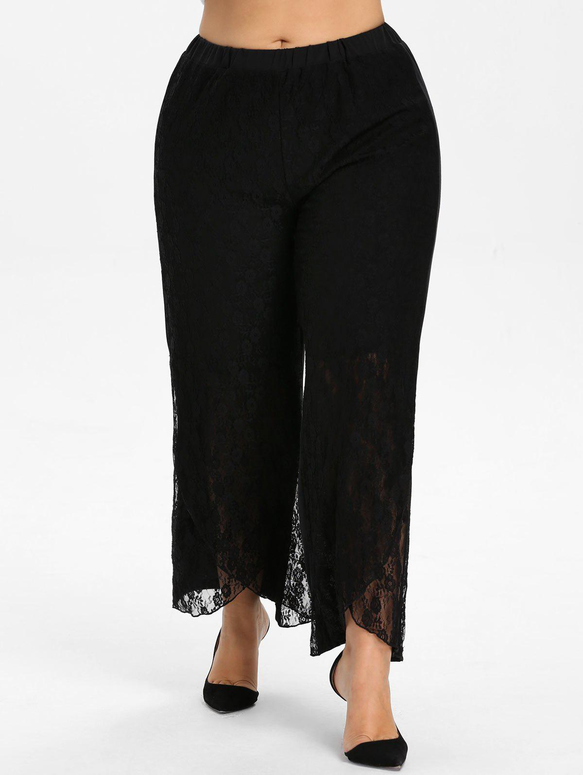 Unique Plus Size Lace Detail Palazzo Pants