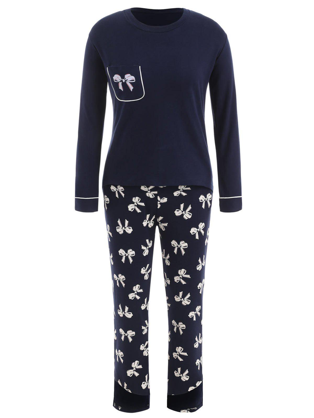 Shop Sleep Set T-shirt with Bowknot Print Pants