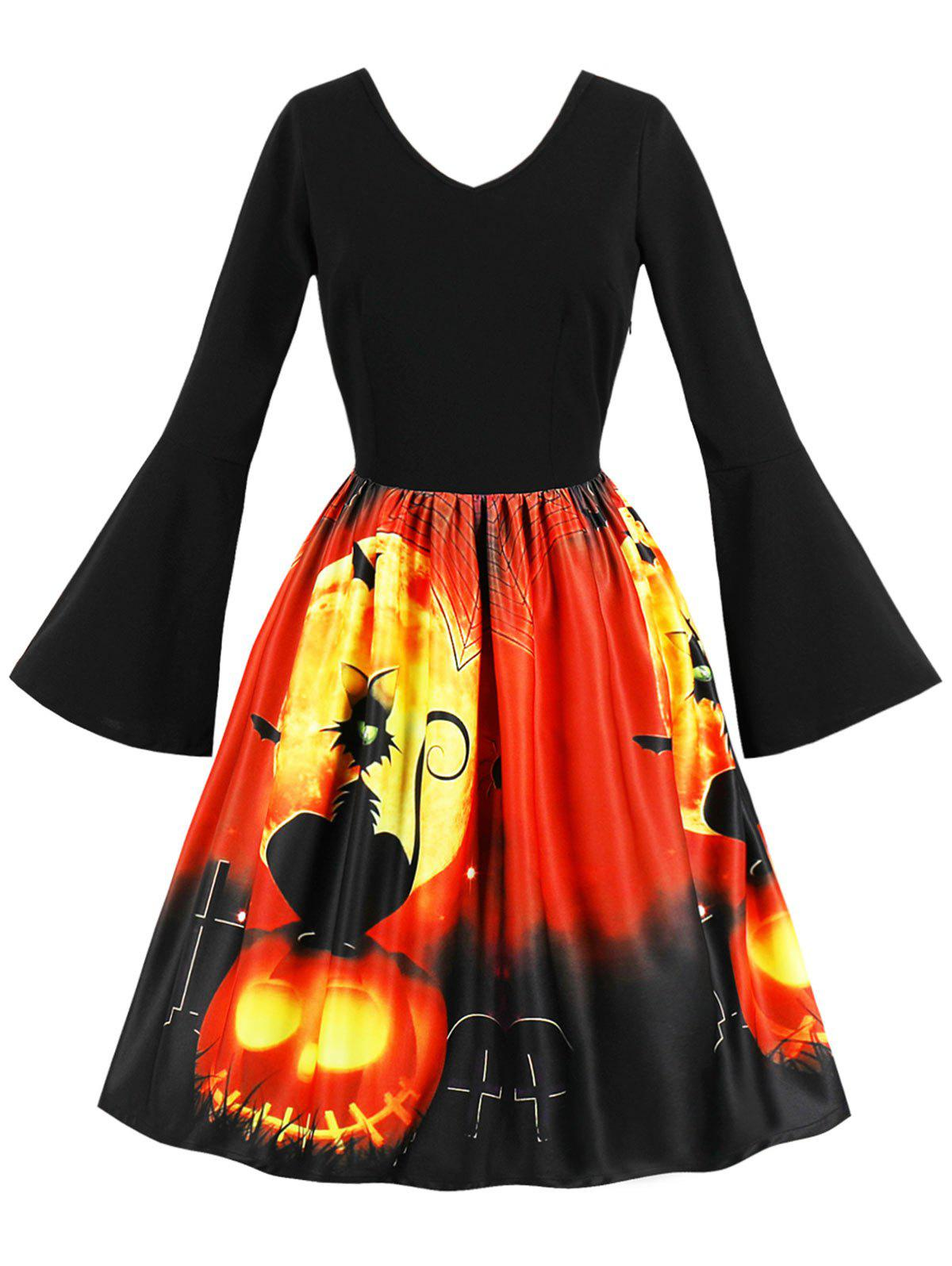 Cheap Halloween Flare Sleeve Retro Dress