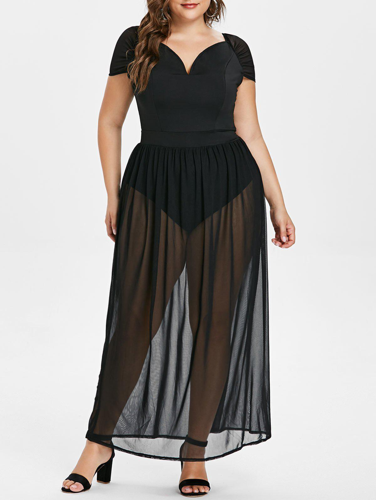 Short Sleeve Plus Size See Through Maxi Dress