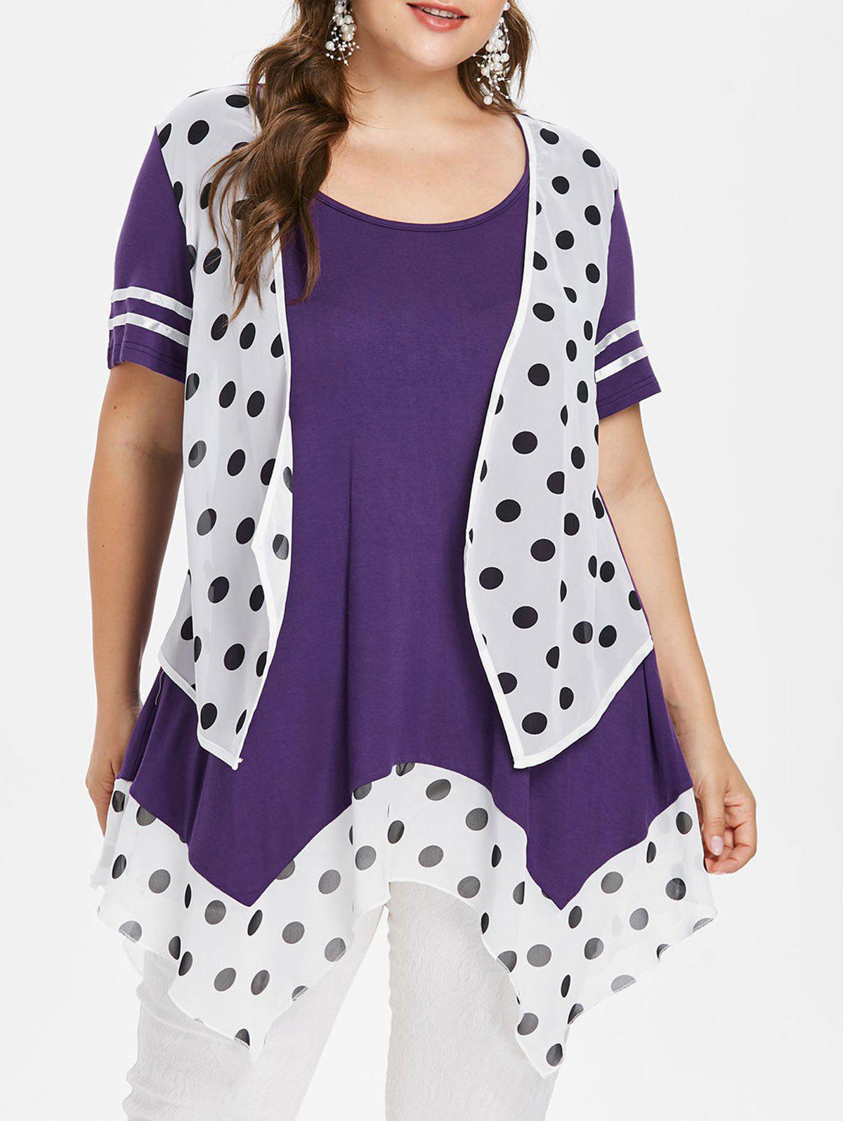 Cheap Plus Size Polka Dot Handkerchief T-shirt