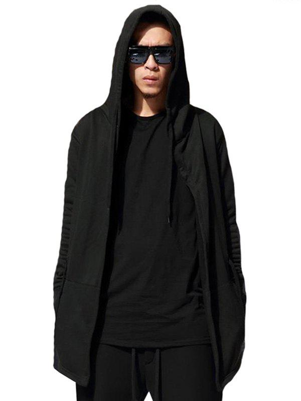 New Long Solid Color Adjustbale Waist Long Cardigan Hoodie