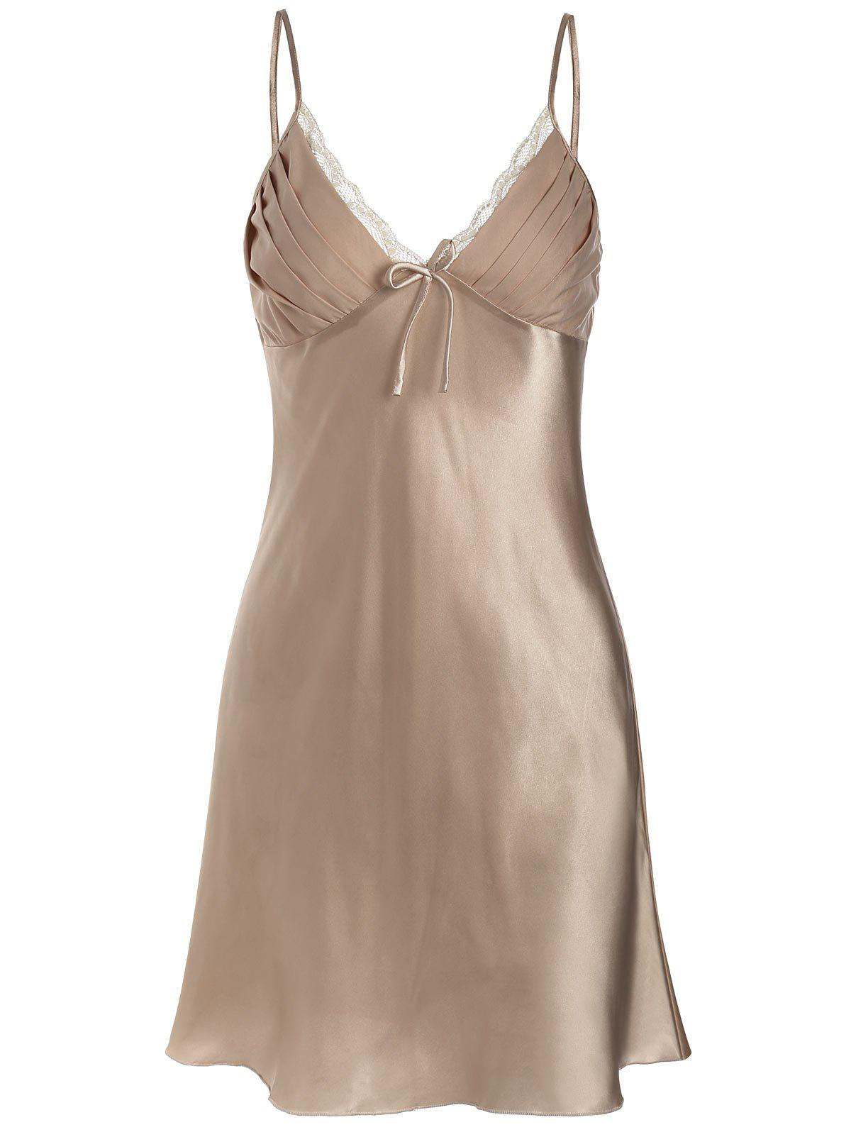 Online Satin Lace Slip Sleepwear Dress