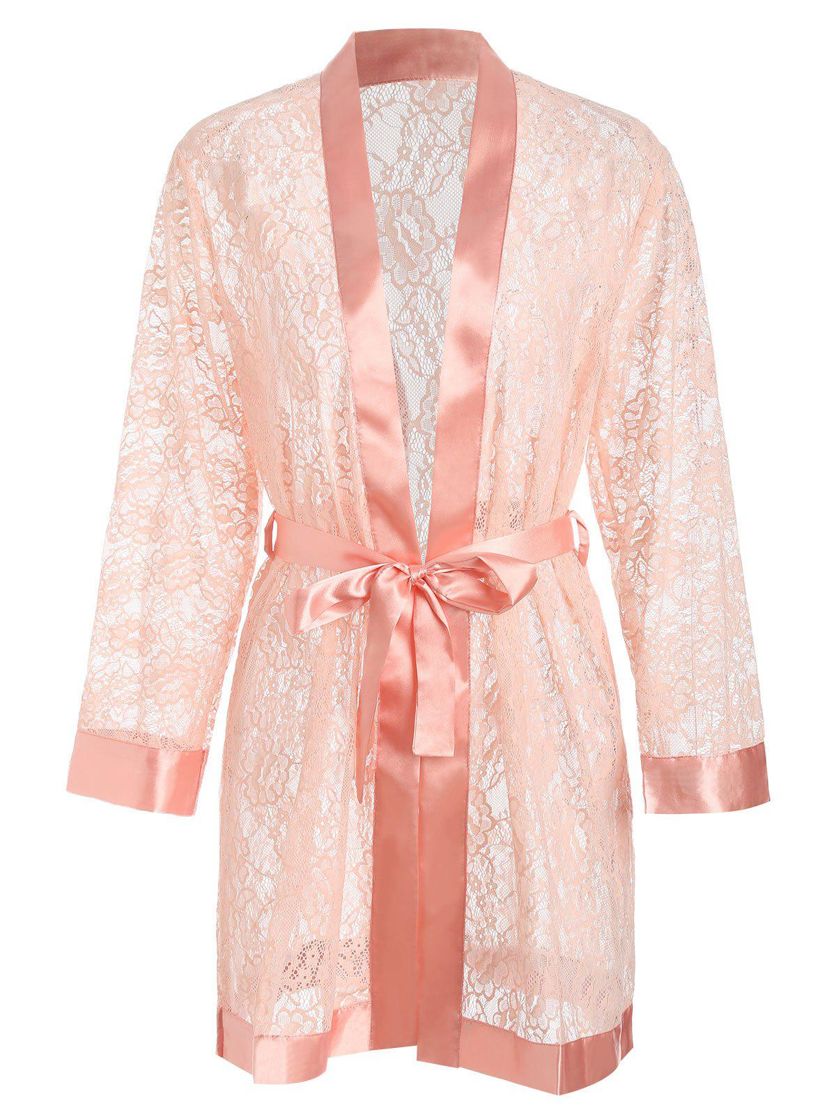 Outfits Long Sleeves Lace Satin Belt Sleeping Robe