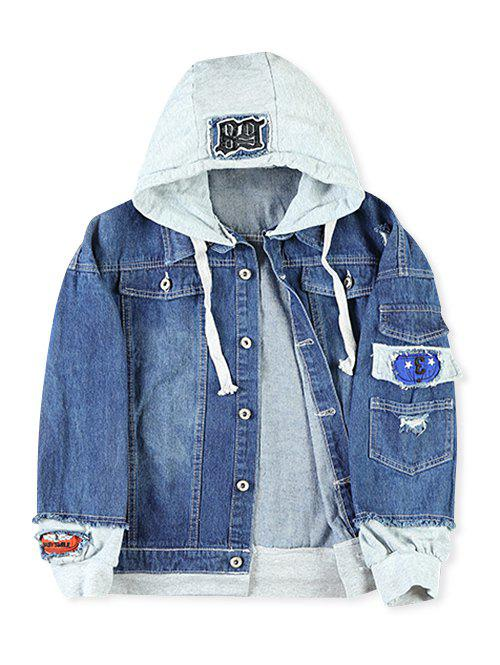 Store Faux Two Pieces Letter Number Applique Hoodie Jacket