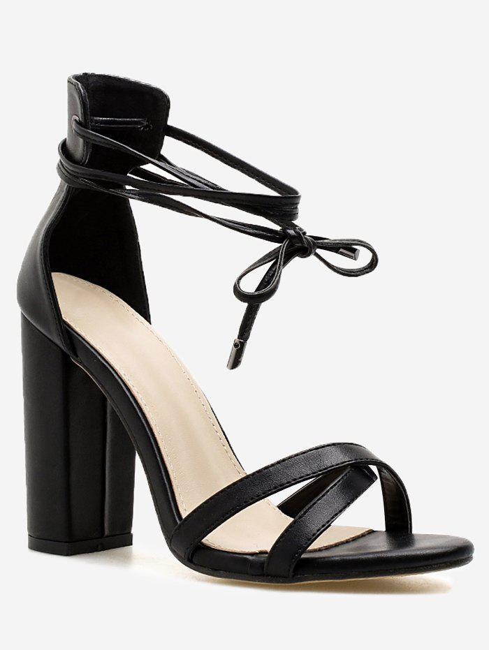 Cheap Criss Cross Strap Chunky Heel Sandals
