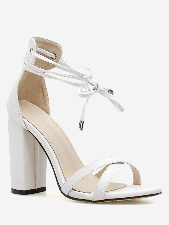 Chic Criss Cross Strap Chunky Heel Sandals