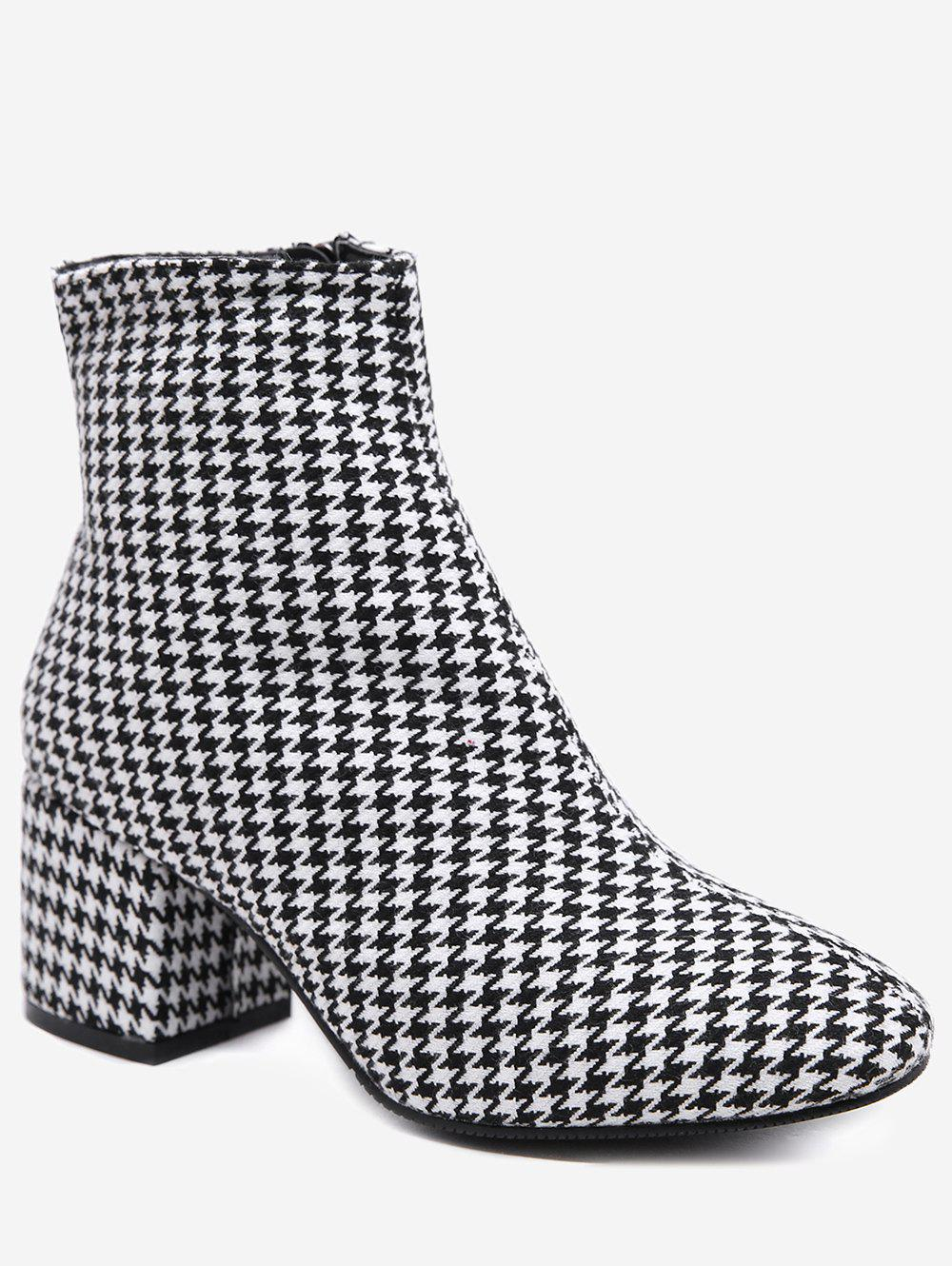 Store Houndstooth Suede Ankle Boots