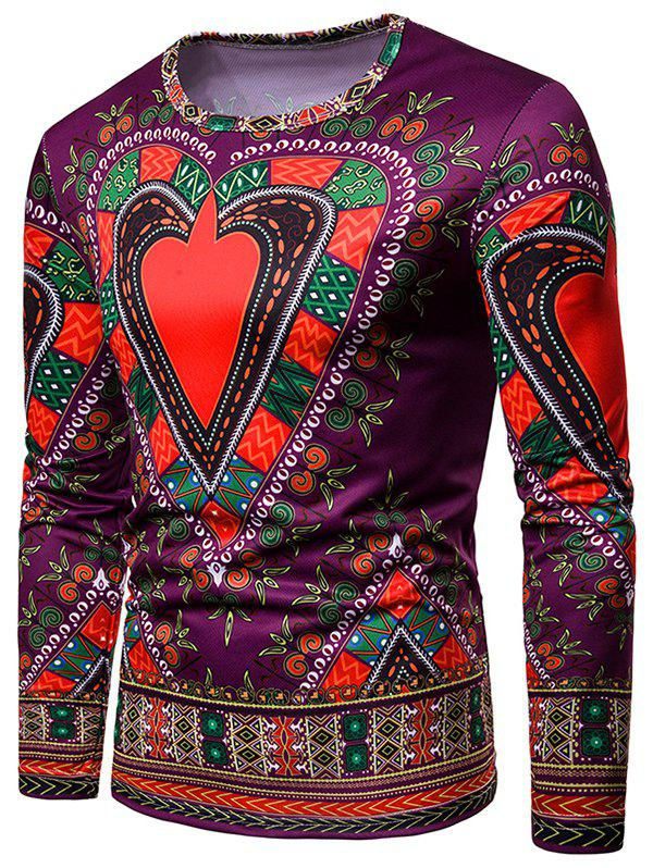Fashion Love Heart Geometrical Print Long Sleeve Tee