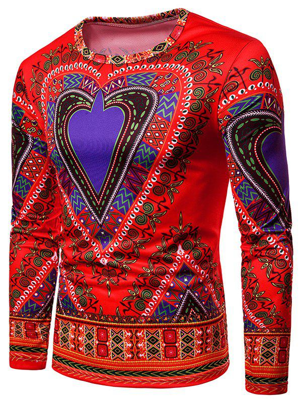 Best Love Heart Geometrical Print Long Sleeve Tee