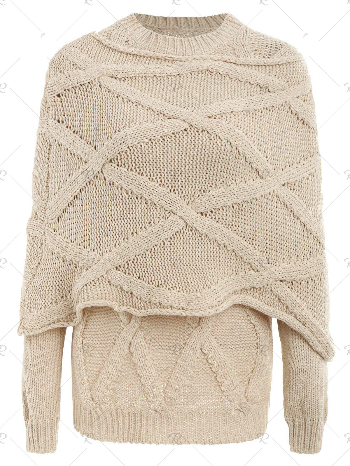 Discount Pullover Cable Knit Long Sleeve Sweater with Scarf