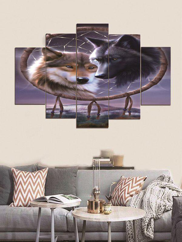 Outfit Unframed Dream Catch Wolf Printed Split Canvas Paintings