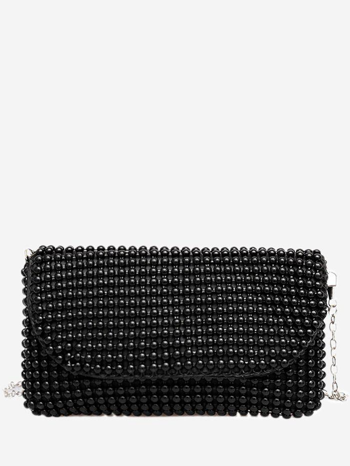 Discount Faux Pearl Beaded PU Leather Bag